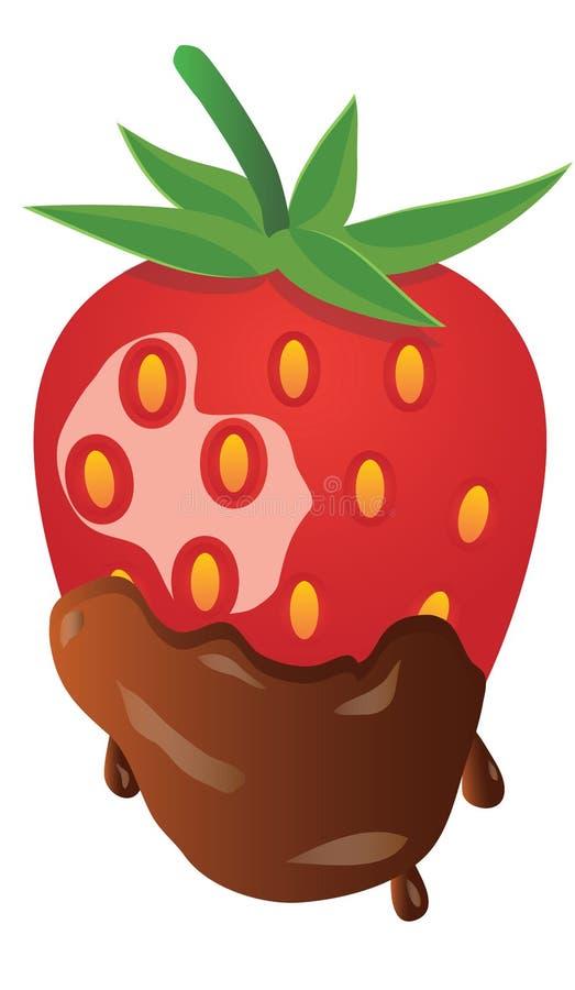 Fraise dans le vecteur de chocolat image libre de droits