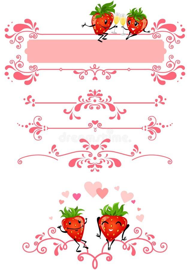 Fraise de dessin animé et décorations roses illustration de vecteur