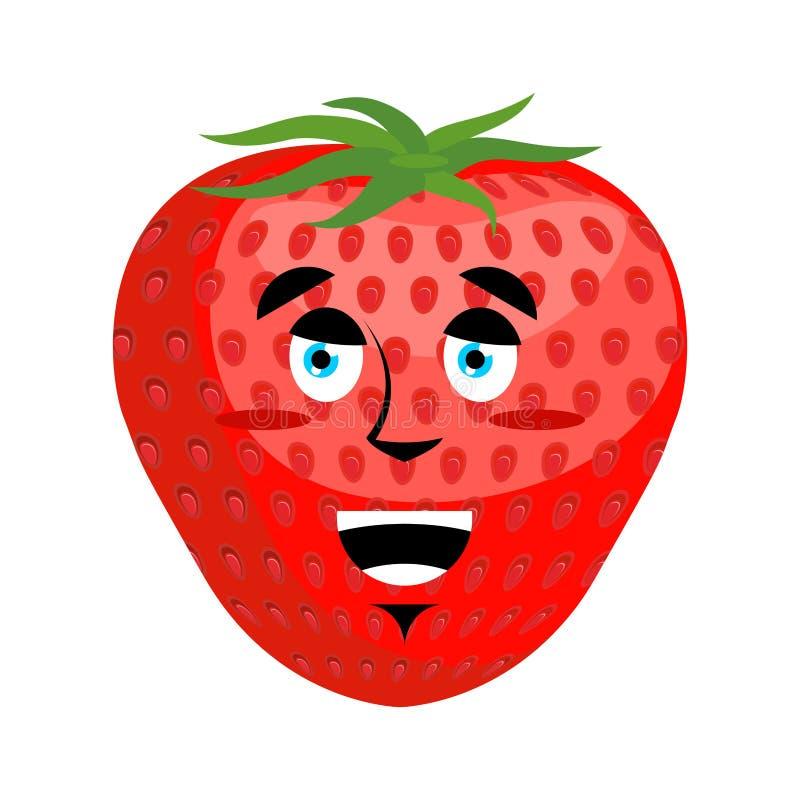 Fraise Emoji heureux Émotion rouge de merryl de baie d'isolement illustration de vecteur