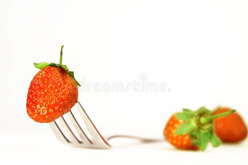 Fraise et fourchette photo libre de droits