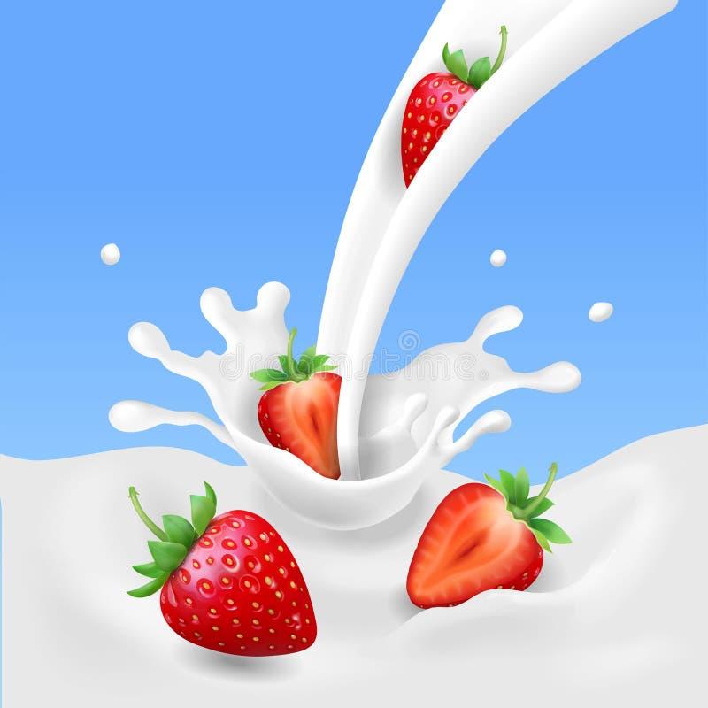 Fraise et lait, fruit réaliste, yaourt éclaboussant le concept de vecteur illustration stock
