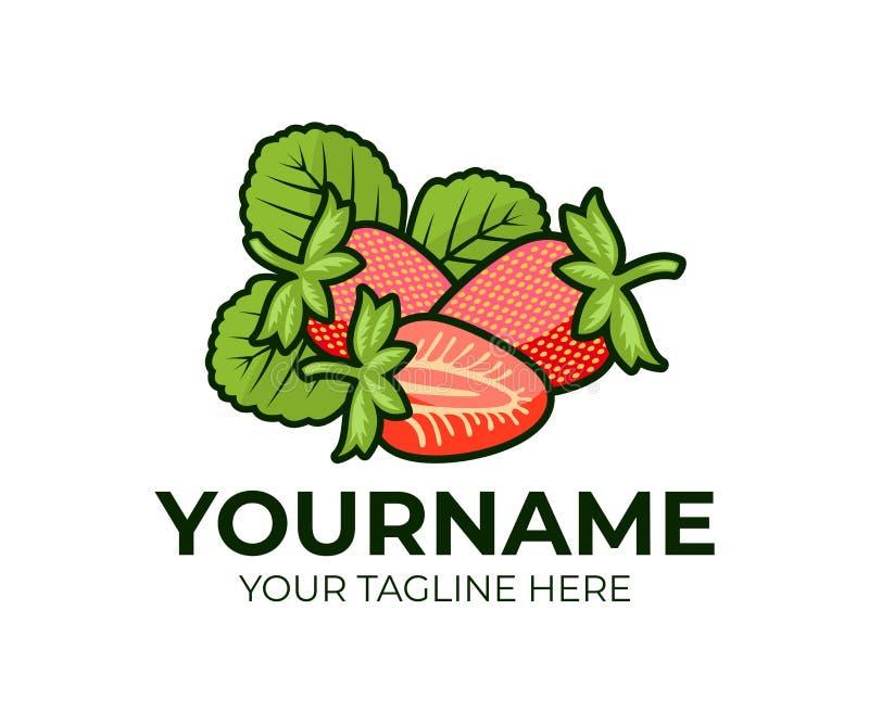 Fraise, fraises de baies et feuille ou feuilles, calibre de logo Fruit, naturel et aliment biologique, produit, conception de vec illustration libre de droits