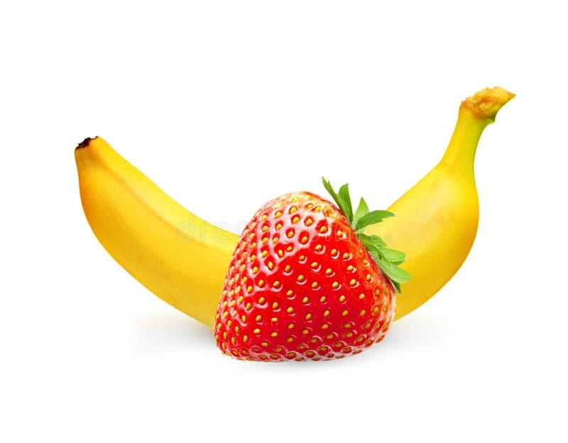 Fraise mûre de banane et de baie images libres de droits