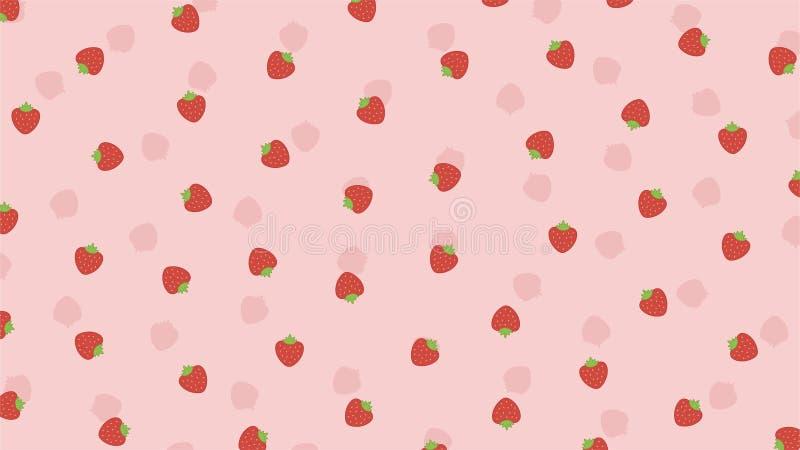Fraise mignonne sur un fond rose illustration stock