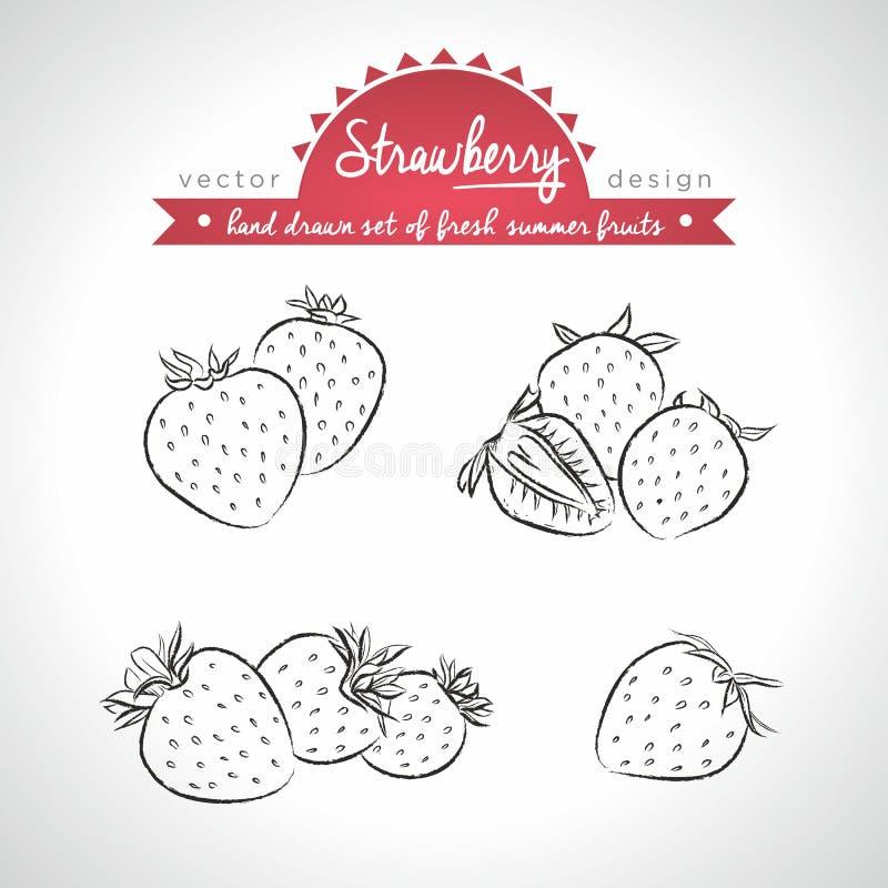 Fraise Placez des fruits frais, entier, demi et mordu avec la feuille Illustration de vecteur D'isolement sur le fond blanc illustration libre de droits