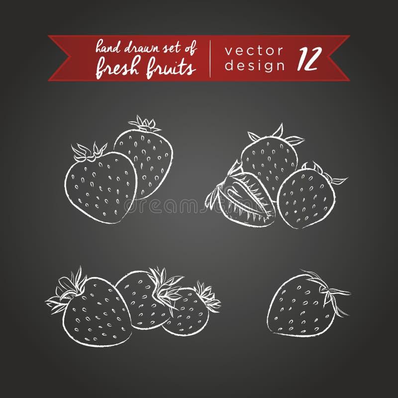 Fraise Placez des fruits frais, entier, demi et mordu avec la feuille Illustration de vecteur D'isolement sur le tableau noir illustration stock