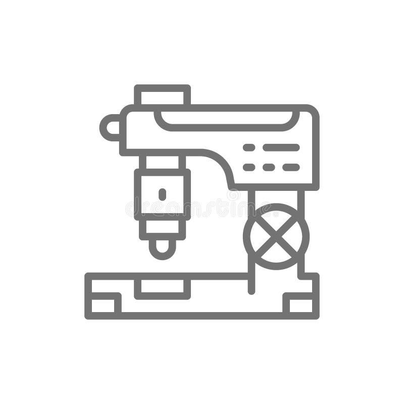 Fraiseuse de commande numérique par ordinateur, coupe en métal de laser, ligne icône de machine de gravure illustration de vecteur