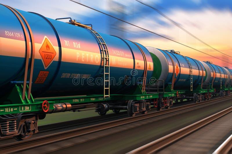 Fraktdrev med oljatankcars royaltyfri illustrationer