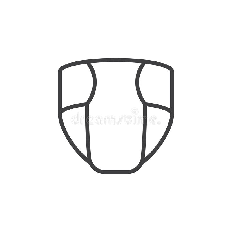 Fralda descartável, linha ícone do tecido, sinal do vetor do esboço, pictograma linear do estilo isolado no branco ilustração royalty free