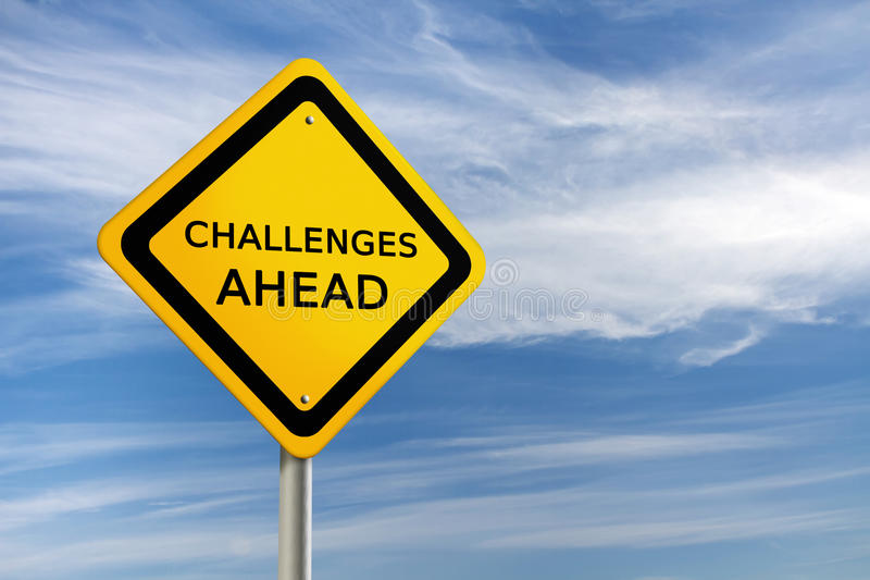 framåt challengesvägmärke stock illustrationer