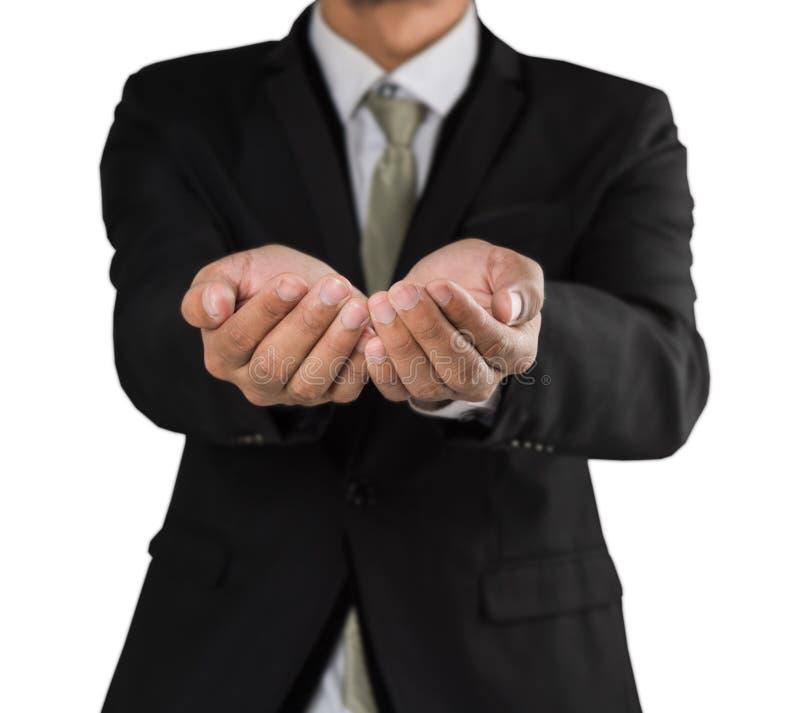 Framåt för öppna händer för affärsman utsträckt och att ge conc uppvisning royaltyfri bild