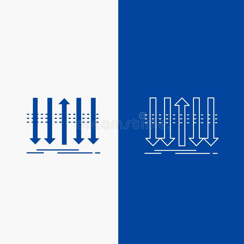 Framåt, för egenartlinje- och skårarengöringsduk knapp för pil, för affär, för skillnad, i det vertikala banret för blå färg för  royaltyfri illustrationer