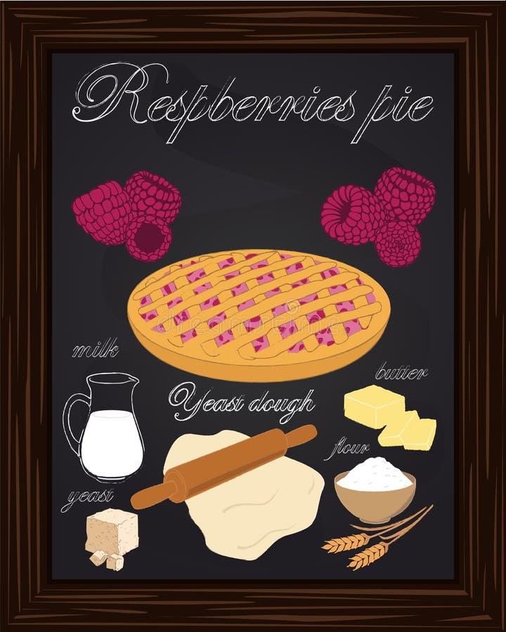 Framboesas bonitas torta e ingredientes ilustração do vetor