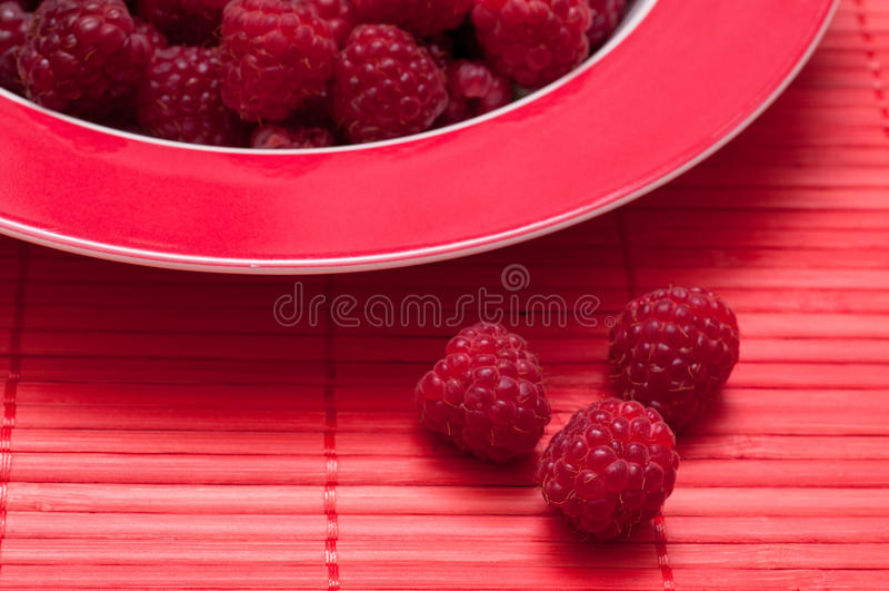 Framboesas maduras em um vermelho subterrâneo imagens de stock