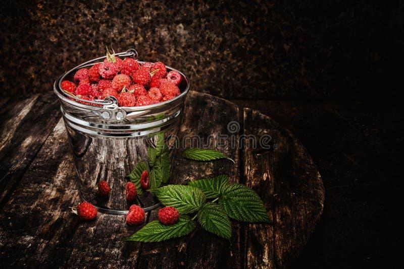 Framboesas selvagens perfumadas doces em uma cubeta foto de stock royalty free