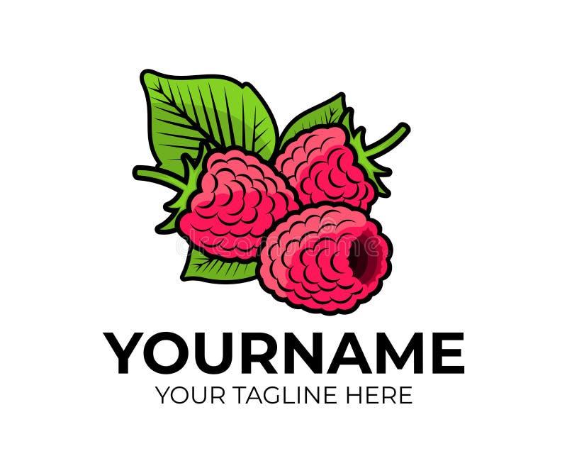 Framboise, framboises de baies et feuille ou feuilles, calibre de logo Fruit, naturel et aliment biologique, produit, conception  illustration de vecteur