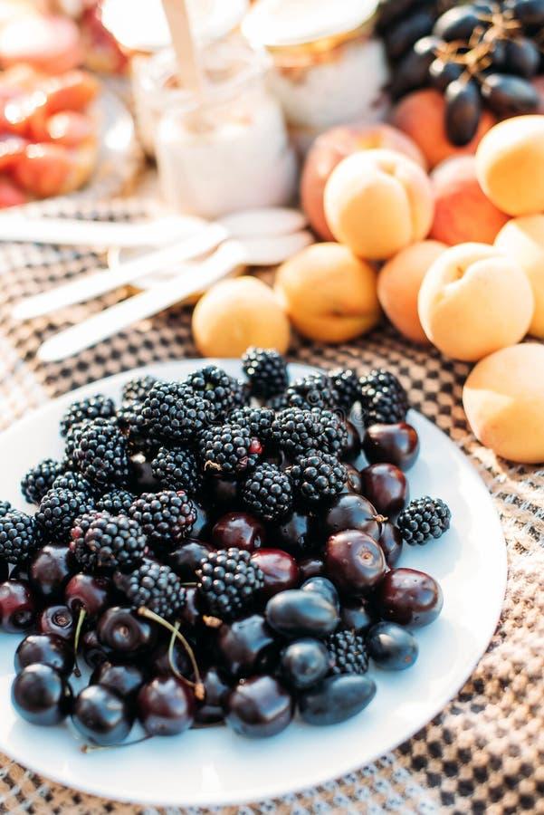 Framboise toujours d'abricot de mûre de pique-nique d'été de la vie photographie stock