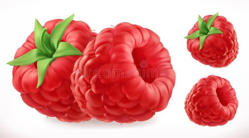 Frambozen Vers fruit 3d vectorpictogram royalty-vrije illustratie