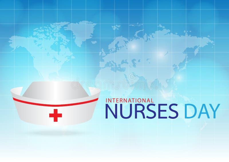 Frambragt bildsjuksköterskalock på blå bakgrund royaltyfri illustrationer