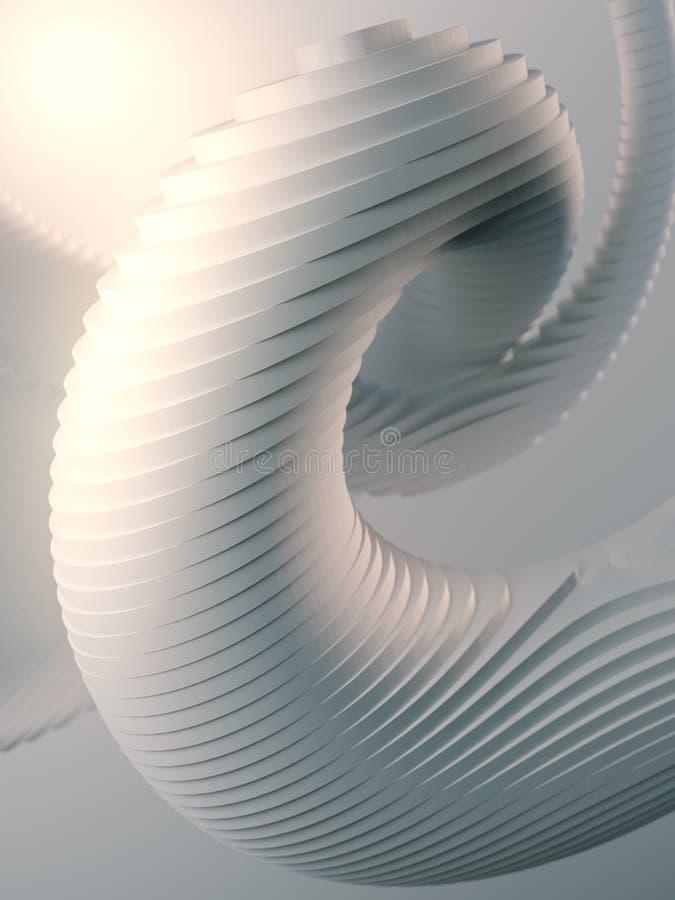 Frambragte den randiga futuristiska modellen f?r vit som omgavs av den ljusa mistdatoren, geometrisk form illustrationen 3d framf stock illustrationer