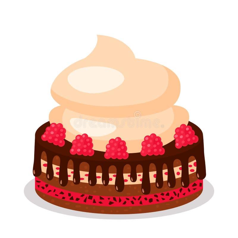 Frambuesa de la torta con crema y merengue del chocolate Concepto de cumplea?os Ejemplo plano del vector aislado libre illustration