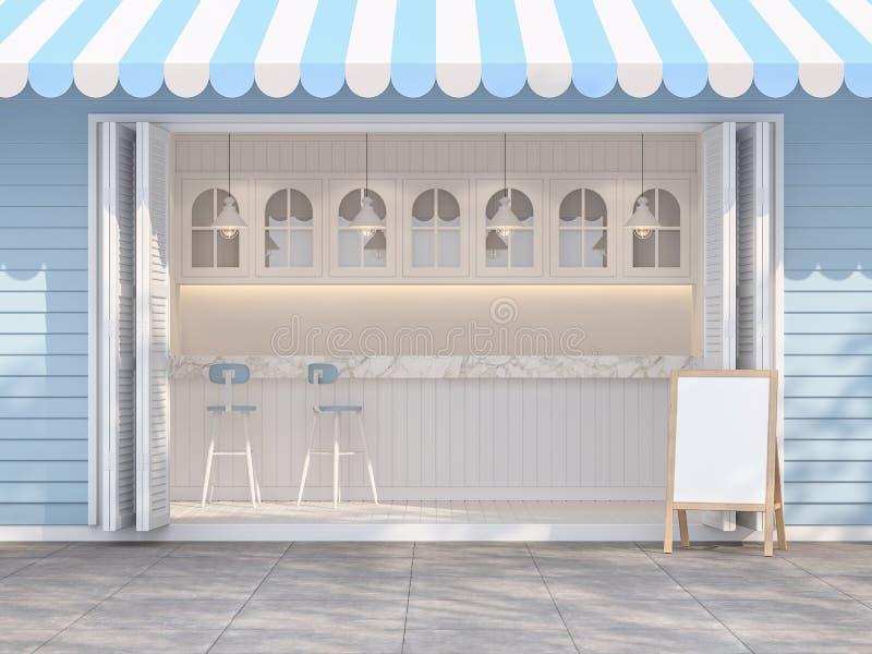 Framdel av den blåa och vita coffee shop 3d att framföra vektor illustrationer