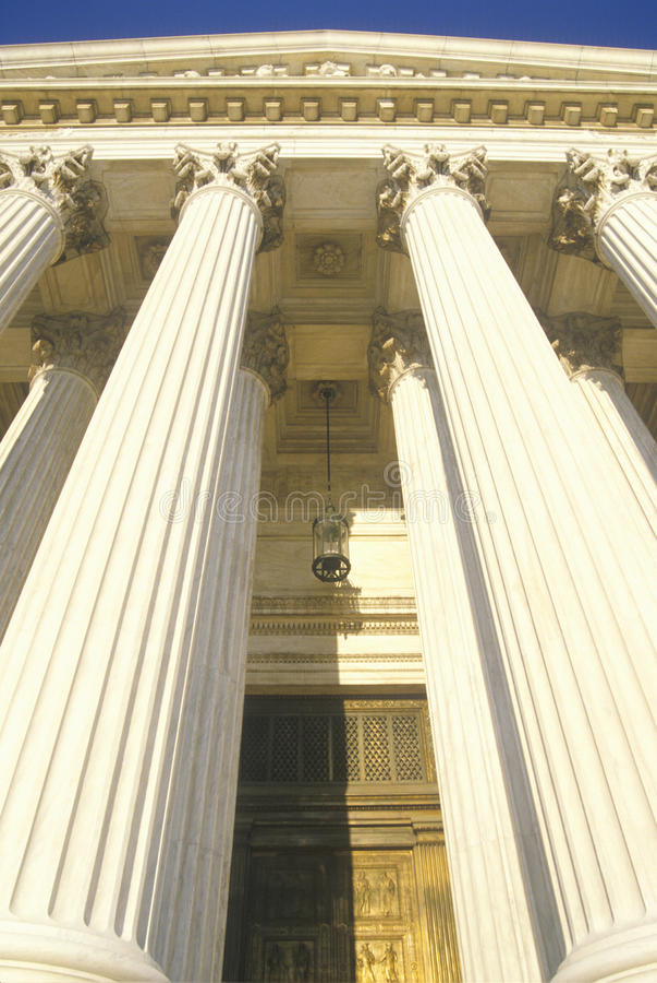 Framdel av Förenta staternahögsta domstolenbyggnaden, Washington, D C arkivfoto