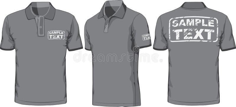 Framdel-, baksida- och sidosikter av polo-skjortan vektor vektor illustrationer