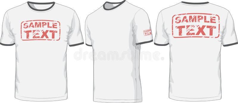 Framdel-, baksida- och sidosikter av t-skjortan vektor royaltyfri illustrationer
