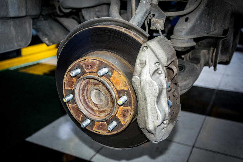 Framdel för diskettbromsar av bilen royaltyfri fotografi