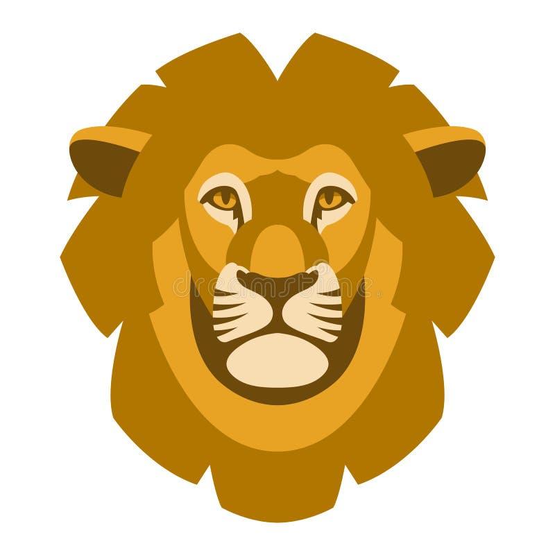 Framdel för lägenhet för stil för illustration för vektor för lejonframsidahuvud stock illustrationer