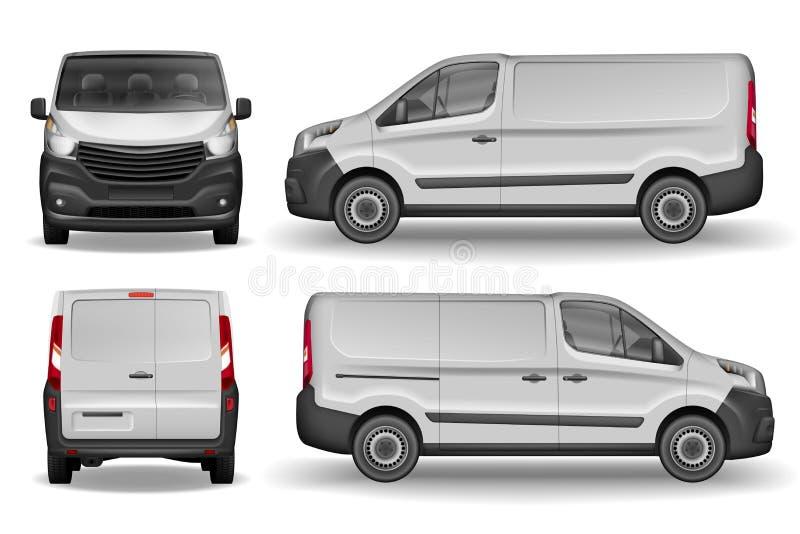 Framdel för lastmedel, sida och bakre sikt Skåpbil för silverleveranskortkort Leverans Van Mockup för annonsering och vektor illustrationer