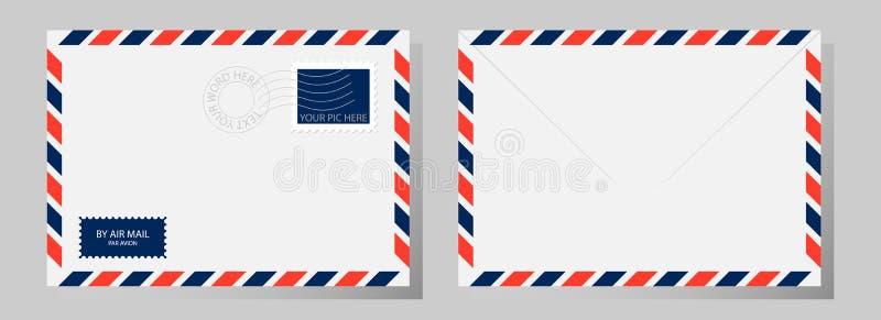 Framdel och baksida av det klassiska kuvertet med stämpeln, poststämpeln och airm stock illustrationer
