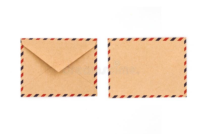 Framdel och baksida av det tappningmanila kuvertet arkivbilder