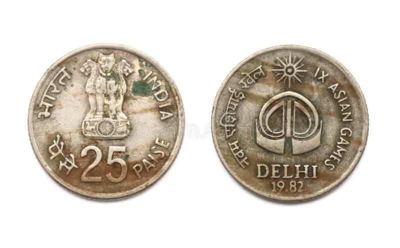 Framdel och baksida av myntet för 25 Paise IX asiatiska spelen royaltyfri foto