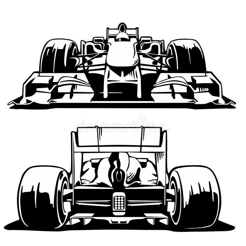 Framdel- och baksidasikt för tävlings- bil royaltyfri illustrationer