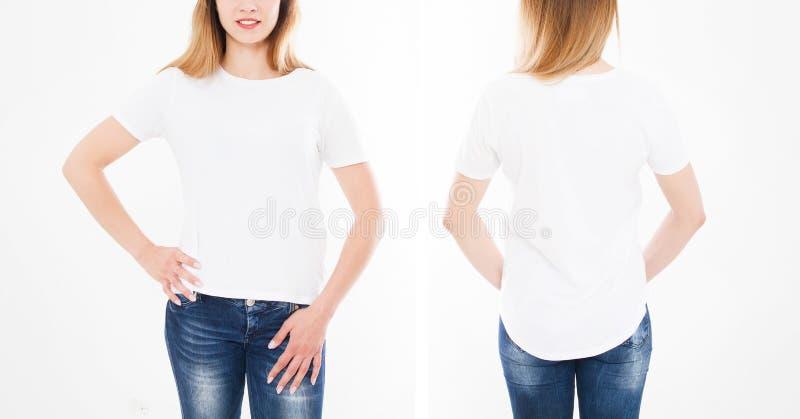Framdel- och baksidasikter av den nätta kvinnan, flicka i stilfull tshirt på vit bakgrund Åtlöje upp för design kopiera avstånd m arkivfoton