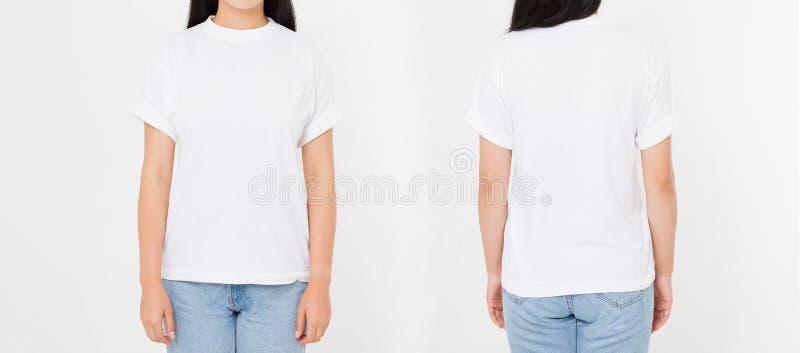 Framdel- och baksidasikter av den unga asiatiska japanska flickakvinnan i stilfull t-skjorta på vit bakgrund Åtlöje upp för desig royaltyfri fotografi