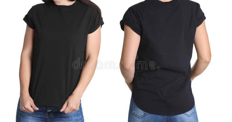 Framdel- och baksidasikter av den unga kvinnan i svart t-skjorta royaltyfri foto