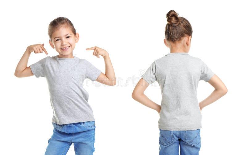Framdel- och baksidasikter av lilla flickan i grå t-skjorta royaltyfria bilder