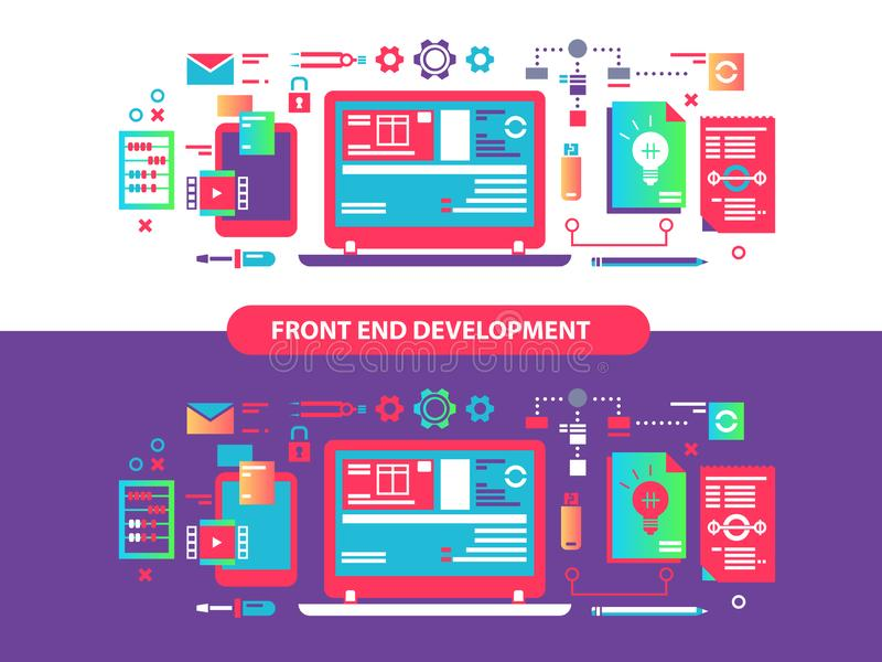 Framdel och utveckling stock illustrationer
