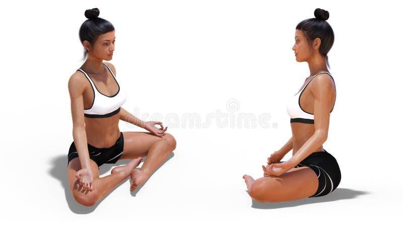 Framdel tre fjärdedelar och den lämnade profilen poserar av en kvinna i lätt yoga poserar vektor illustrationer