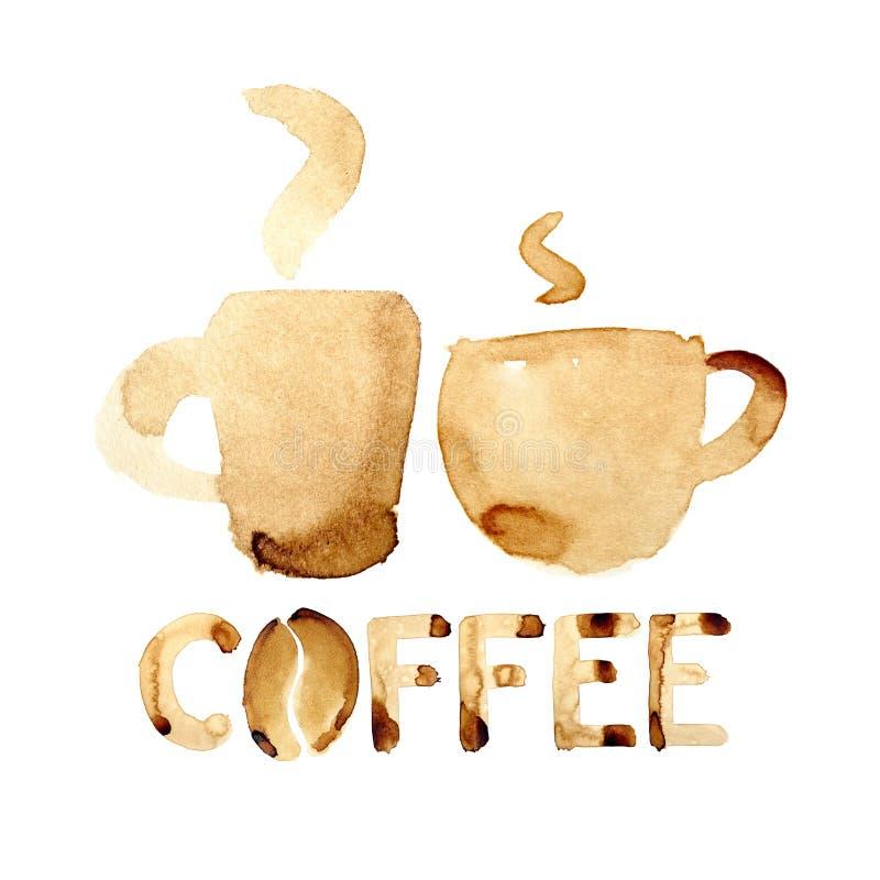 framdelen för fokusen för koppar för kaffekoppen har den drömlika att se det slappa fotoet vektor illustrationer