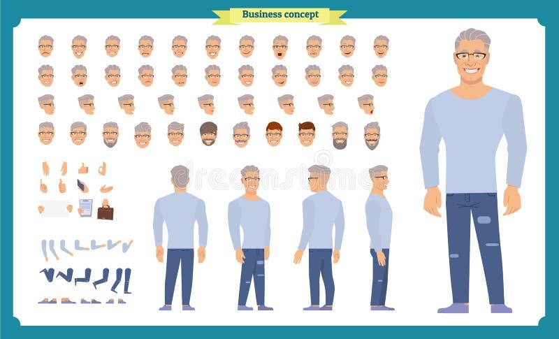 Framdelen sidan, baksidasikt animerade teckenet - ställ in med olika sikter, frisyrer, framsidasinnesrörelser, poserar och gör en royaltyfri illustrationer