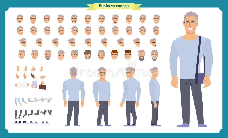 Framdelen sidan, baksidasikt animerade teckenet - ställ in med olika sikter, frisyrer, framsidasinnesrörelser, poserar och gör en stock illustrationer