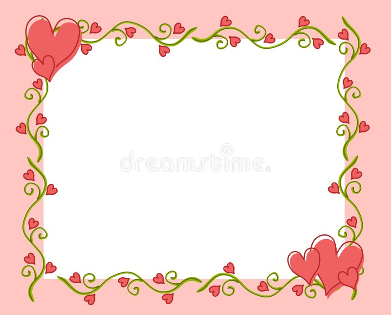 Frame 2 da videira da flor do coração do dia do Valentim ilustração stock