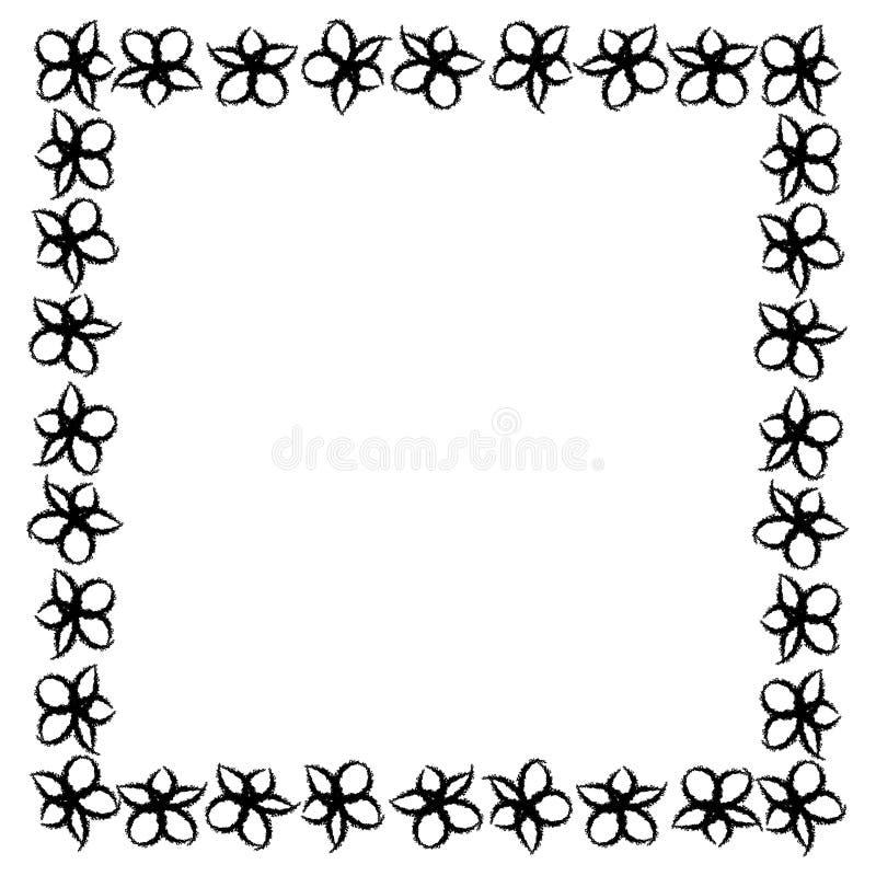 Frame abstrato de flores pretas imagem de stock royalty free
