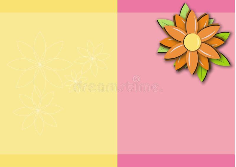 Frame amarelo cor-de-rosa do fundo da margarida alaranjada ilustração do vetor