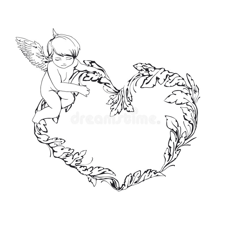 Frame With Angel And Heart Stock Image