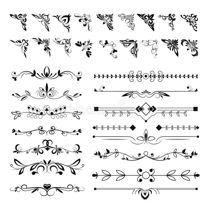 Free Frame Angles Or Text Separation Lines, Floral Pattern Elements Stock Image - 159235881